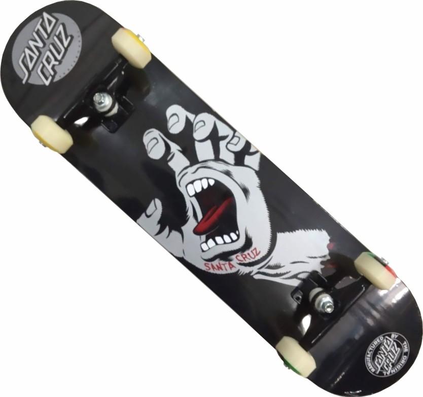 Skate Santa Cruz Montado Completo Profissional Hand Stick Brutus Abec 11 Preto
