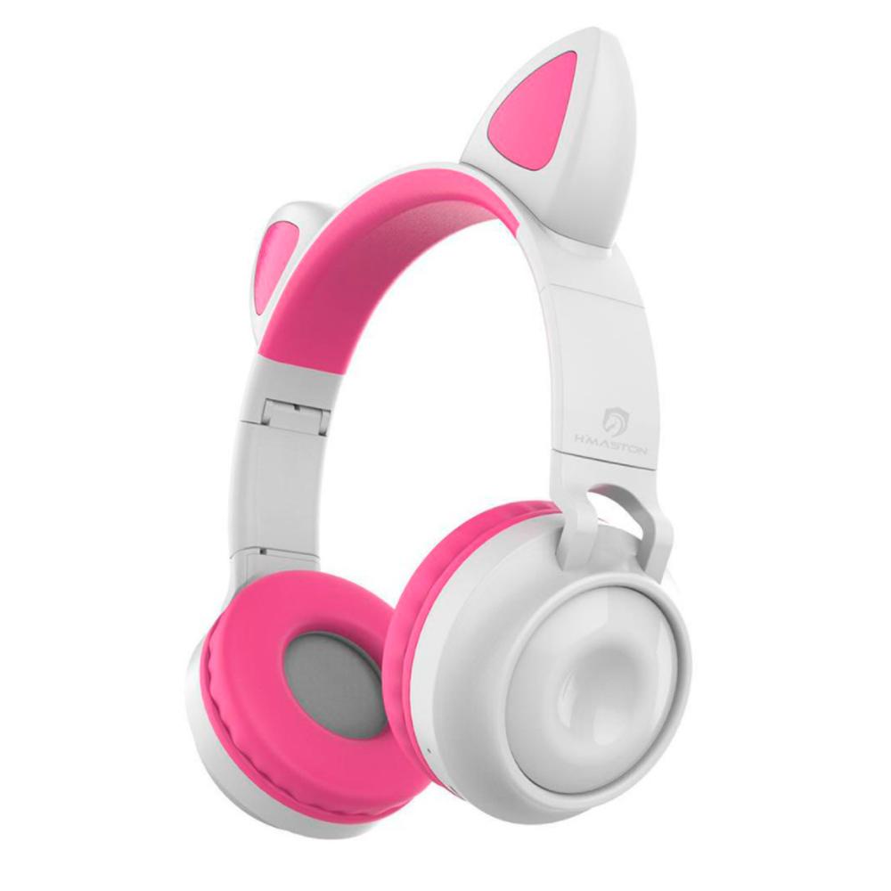 Fone de Ouvido Headset Gatinha Led Bluetooth Micro SD P2 EJ-049 Sem Fio Almofadado Som Estéreo