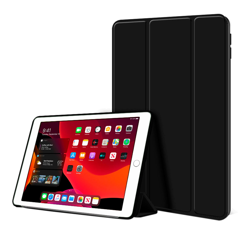 Kit Capa Ipad 8 8ª Geração 2020 Tela 10.2 Smart Aveludada Anti Impacto High Premium Preta + Pelicula