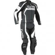 Macacão Tutto Moto Racing  2  peças Branco c/ Prata