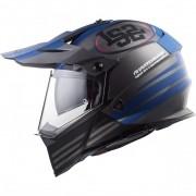 Capacete LS2 MX436 Pionner Quarterback - Cinza/Azul