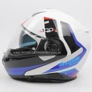 Capacete Nolan N100-5 Hilltop - Branco/Azul (49) - c/ Viseira Interna