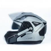 Capacete Nolan N90 Straton Prata Escamoteável  C/ Viseira Solar Interna