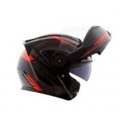 Capacete Norisk FF345 Escamoteável Route Motion Black/Red C/ viseira Interna