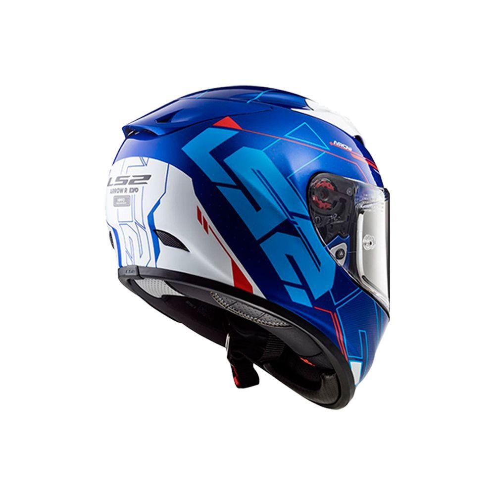 Capacete LS2 Arrow R Techno (Branco/Azul/Vermelho)  - Nova Centro Boutique Roupas para Motociclistas