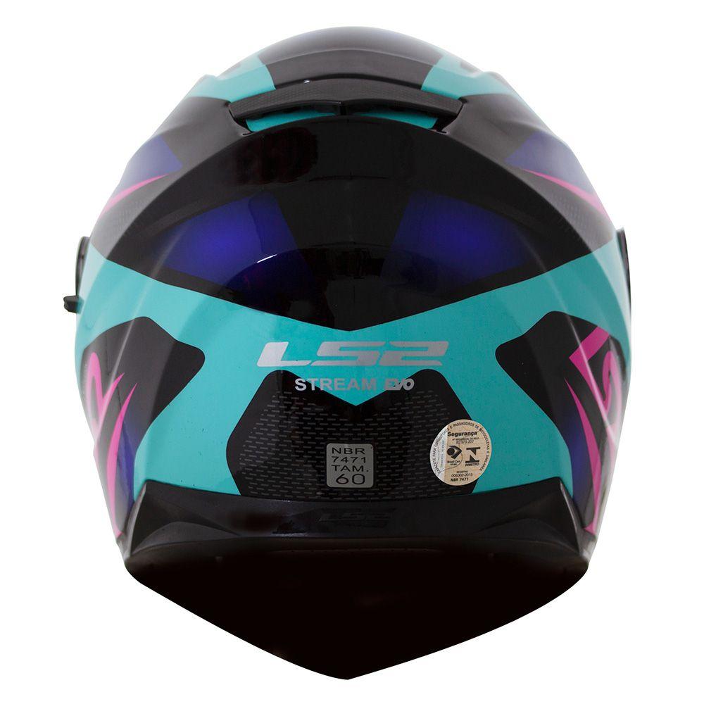 Capacete LS2 FF320 Crown (C/ VISEIRA SOLAR) Azul  - Nova Centro Boutique Roupas para Motociclistas
