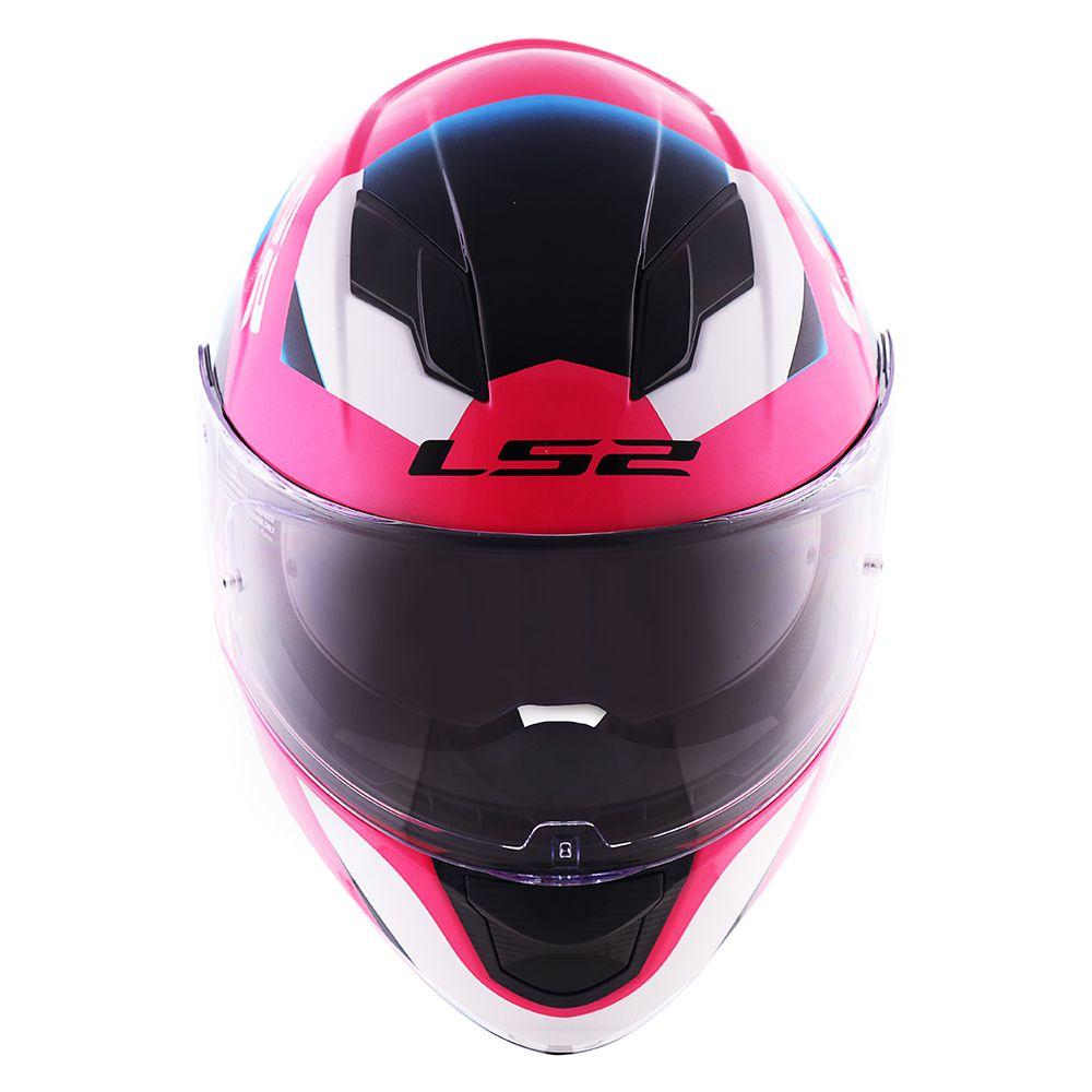 Capacete LS2 FF320 - Dimitry - (C/ VISEIRA SOLAR) - Rosa/Azul/Branco  - Nova Centro Boutique Roupas para Motociclistas