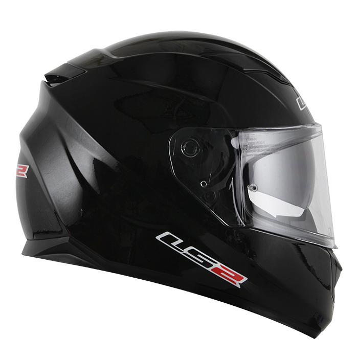 Capacete LS2 FF320 Monocolor  Gloss Preto (C/VISEIRA SOLAR) CONFIRMAR NUMERAÇÃO  - Nova Centro Boutique Roupas para Motociclistas