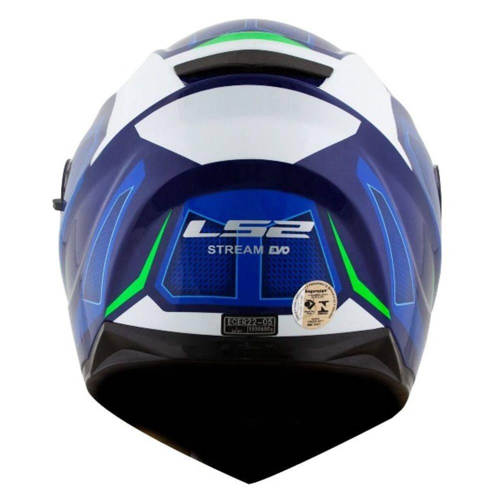 Capacete LS2 FF320 Steam EDGE (C/ VISEIRA SOLAR) Azul/Branco/Verde  - Nova Centro Boutique Roupas para Motociclistas