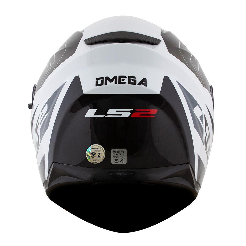 Capacete LS2 FF320 Steam OMEGA (C/ VISEIRA SOLAR) BRANCO/PRETO  - Nova Centro Boutique Roupas para Motociclistas