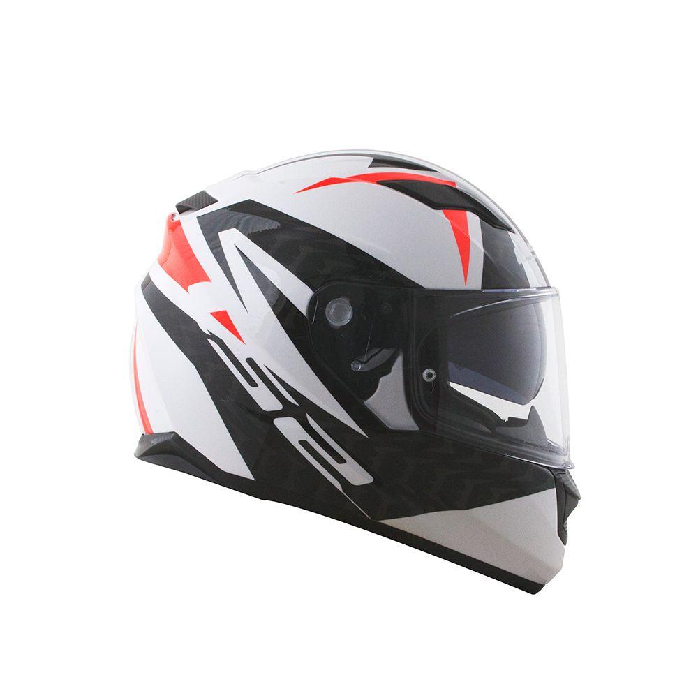 Capacete LS2 FF320 Stream Commander (C/ VISEIRA SOLAR) Branco/Preto/Vermelho  - Nova Centro Boutique Roupas para Motociclistas