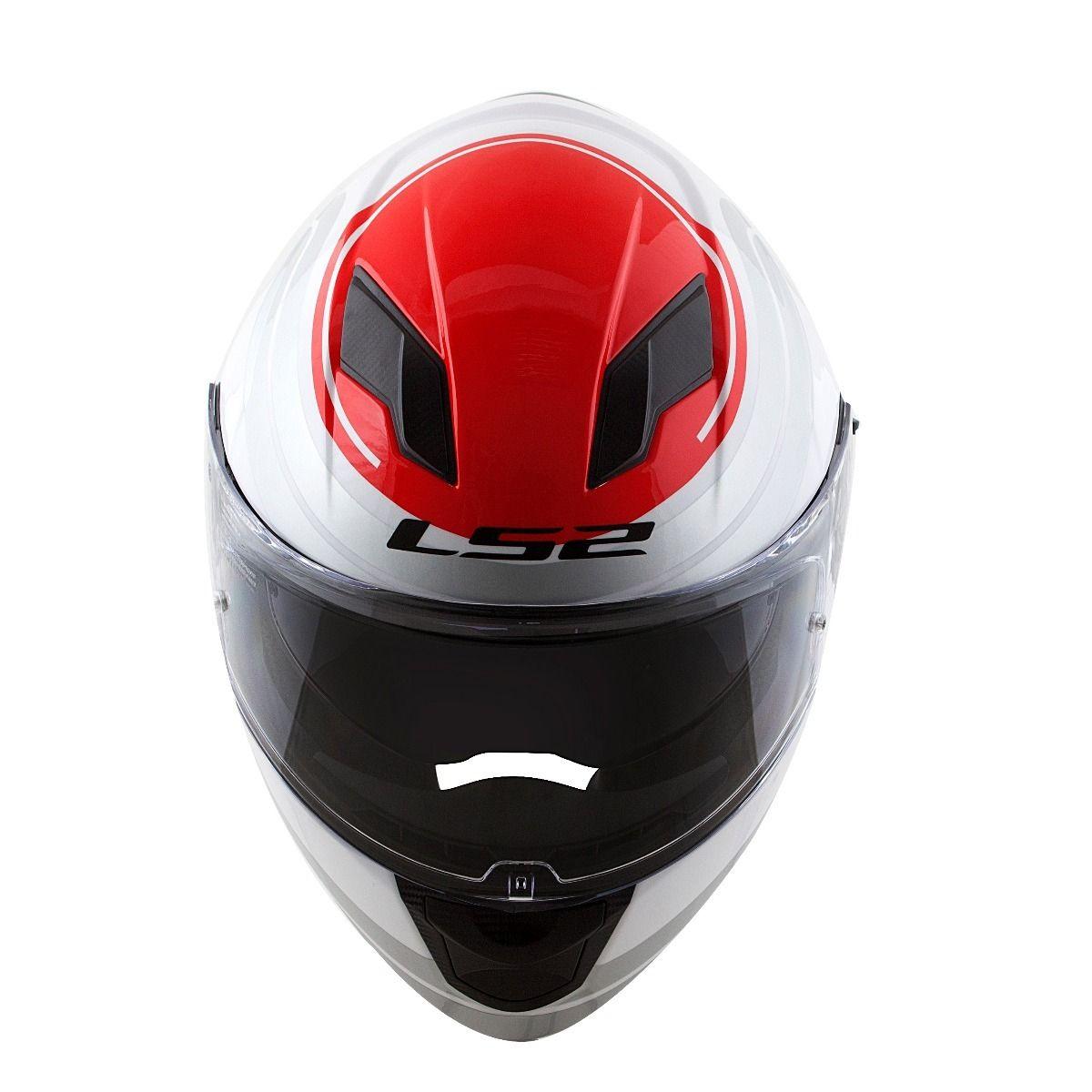 Capacete LS2 FF320 Stream Orbital (Branco/Vermelho)  - Nova Centro Boutique Roupas para Motociclistas