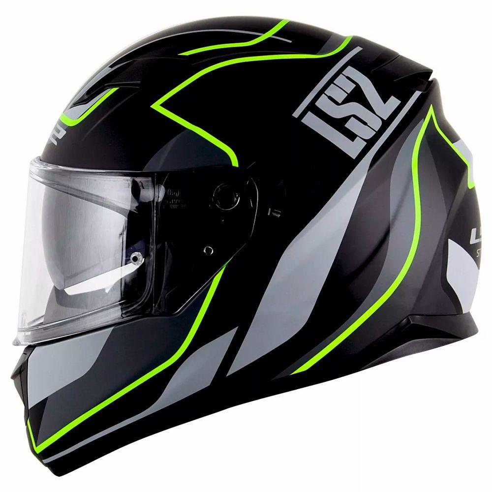 Capacete LS2 FF320 Stream Vantage Matte Black/Yellow (C/VISEIRA SOLAR)   - Nova Centro Boutique Roupas para Motociclistas