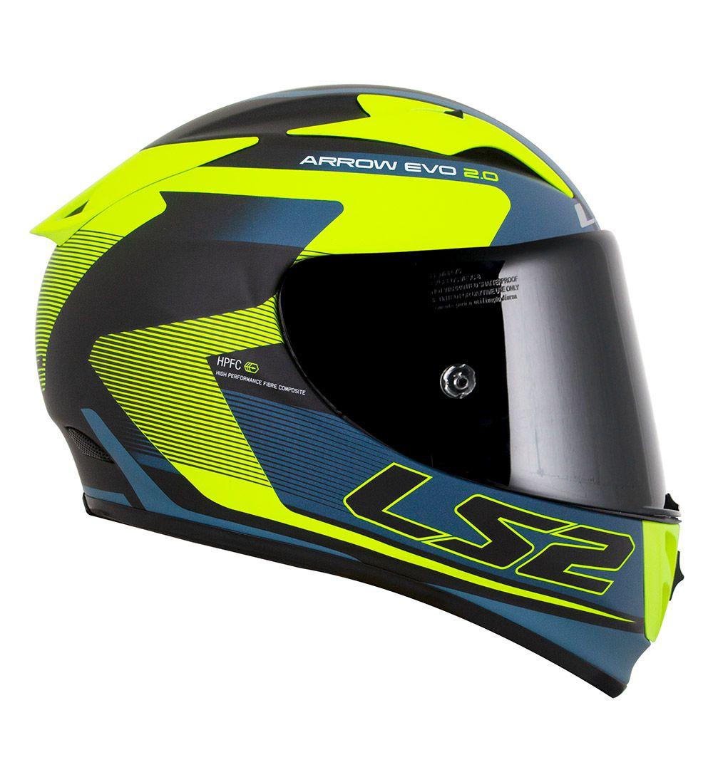 Capacete LS2 FF323 Arrow R  Compete - Azul Fosco / Amarelo / Preto - LANÇAMENTO  - Nova Centro Boutique Roupas para Motociclistas