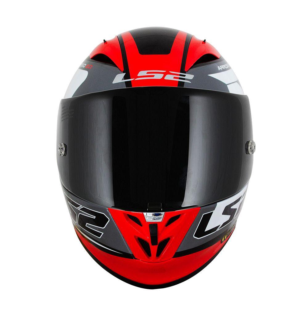 Capacete LS2 FF323 Arrow R  Compete - Titanium / Vermelho / Branco - LANÇAMENTO  - Nova Centro Boutique Roupas para Motociclistas
