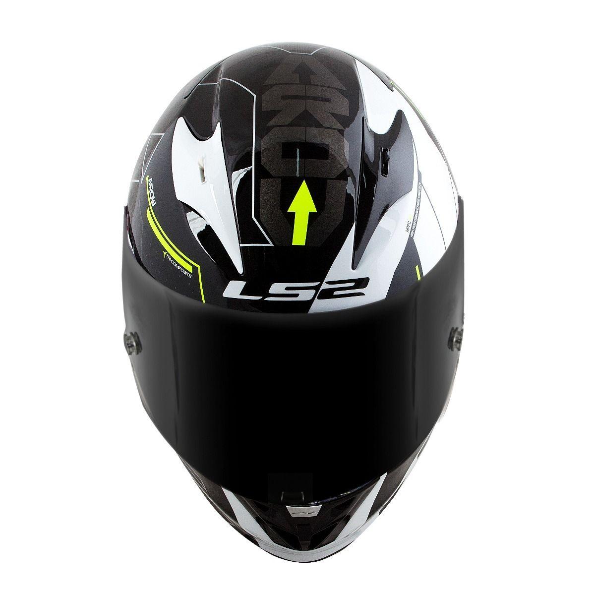 Capacete LS2 FF323 Arrow R Techno Preto/Branco/Amarelo  - Nova Centro Boutique Roupas para Motociclistas