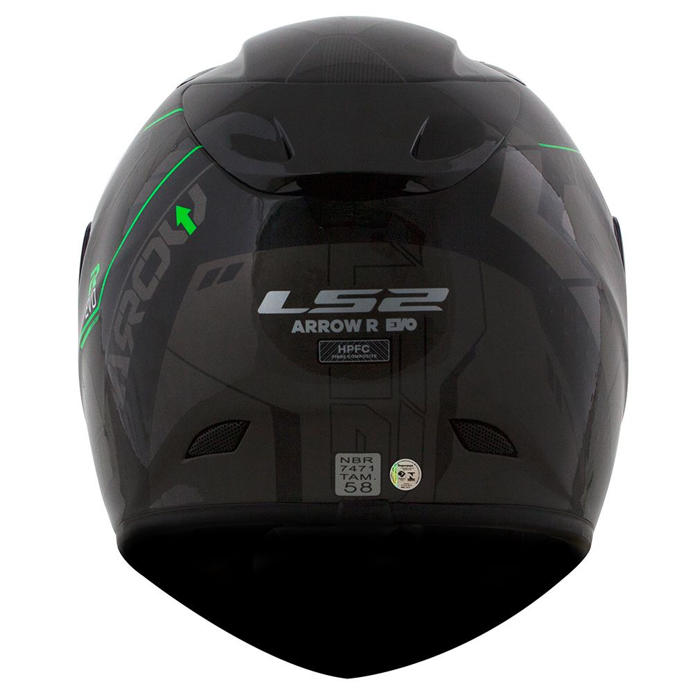 Capacete LS2 FF323 Arrow R Techno Preto/Cinza/Verde  - Nova Centro Boutique Roupas para Motociclistas