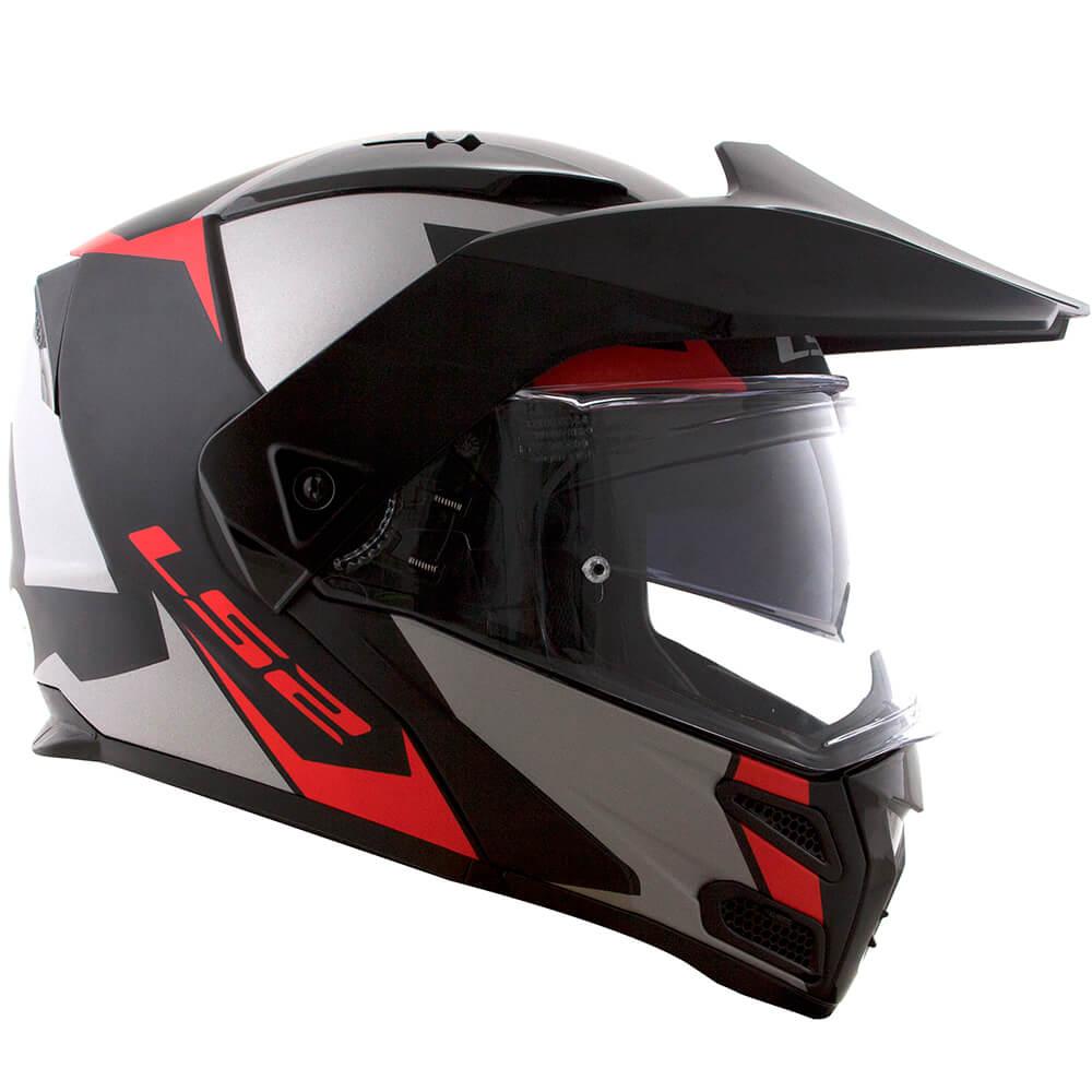 Capacete LS2 FF324 Metro Evo SUB PRETO/CINZA/VERMELHO  - Nova Centro Boutique Roupas para Motociclistas