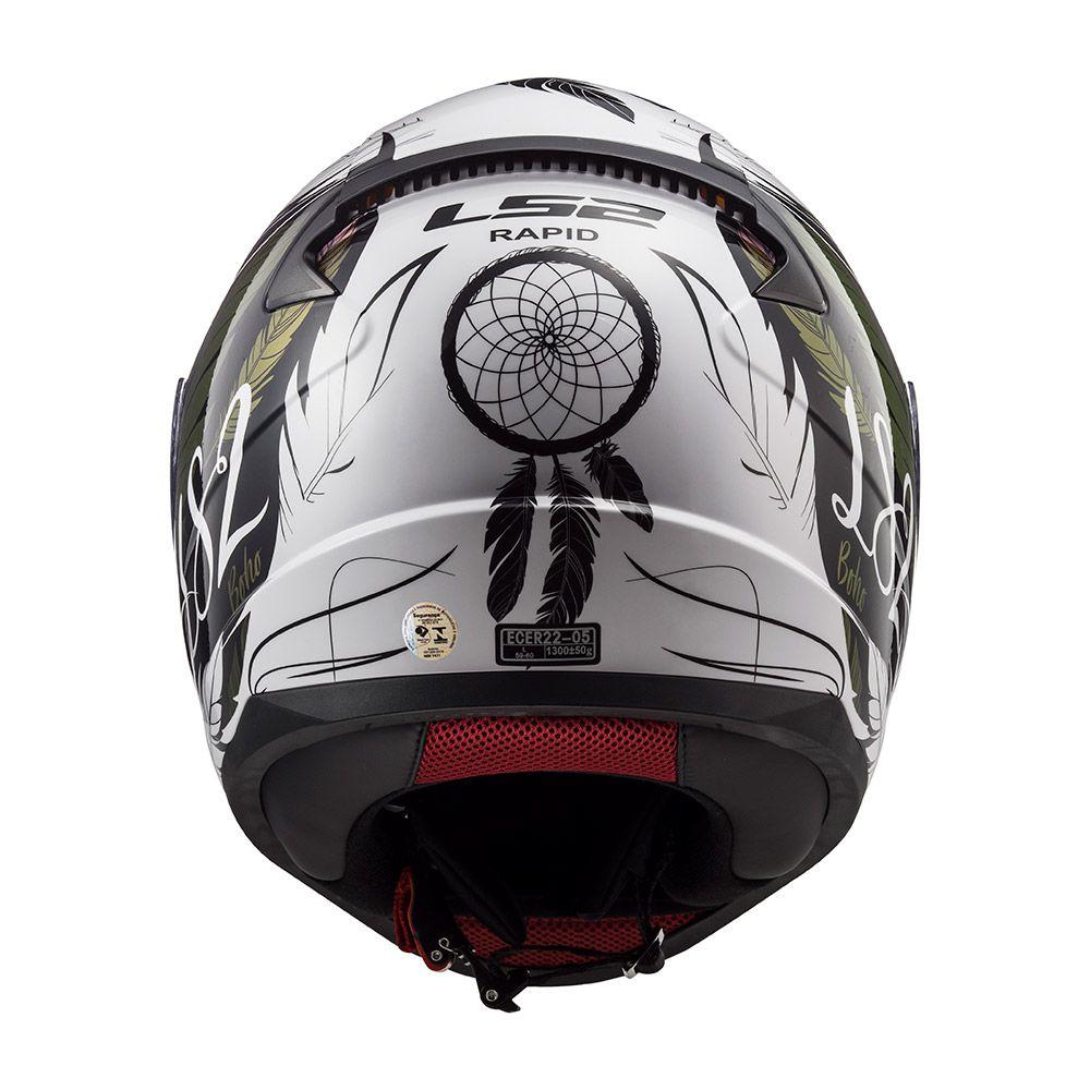 Capacete LS2 FF353 Rapid - Boho - Branco / Preto / Rosa  - Nova Centro Boutique Roupas para Motociclistas
