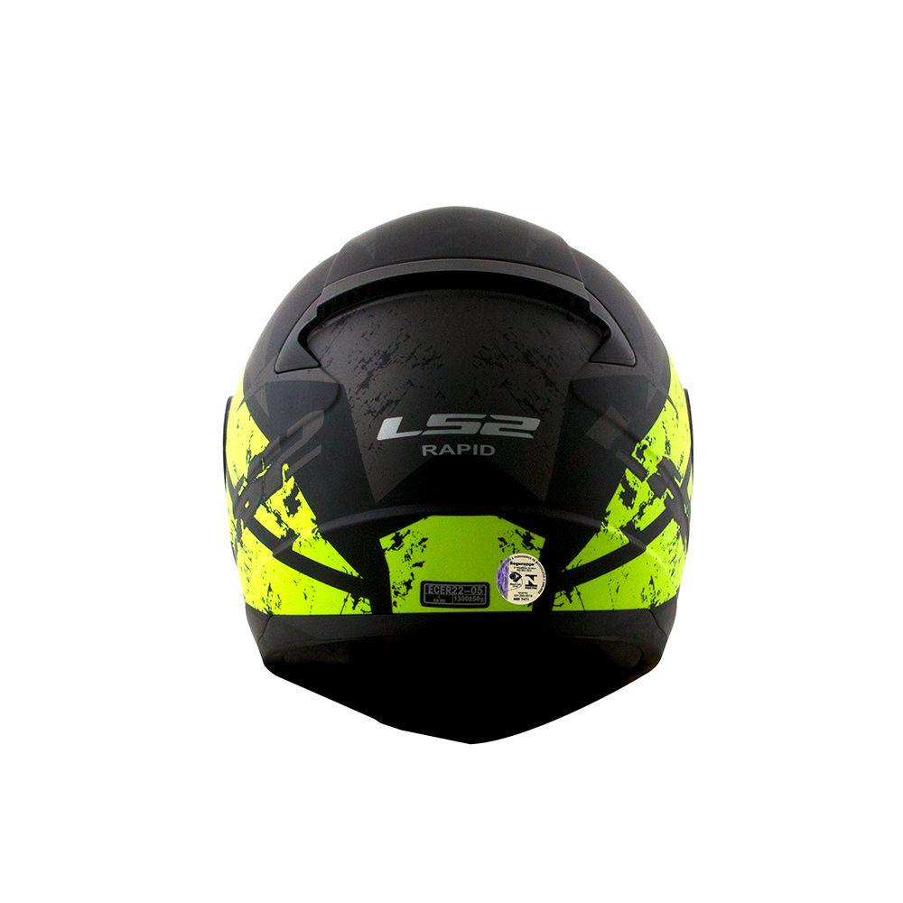 Capacete LS2 FF353 Rapid Deadbolt - Preto/Titanium/Amarelo Fluo  - Nova Centro Boutique Roupas para Motociclistas