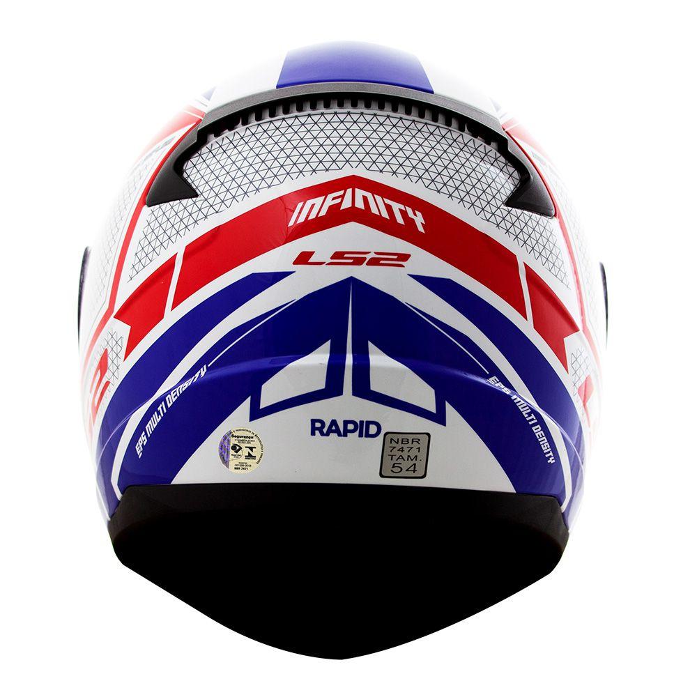 Capacete LS2 FF353 Rapid Infinity - Branco/Azul/Vermelho  - Nova Centro Boutique Roupas para Motociclistas