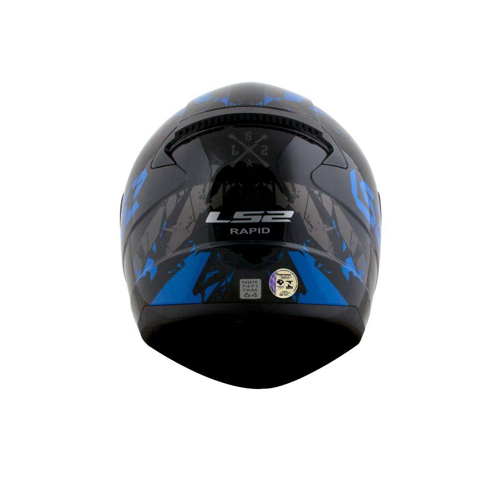 Capacete LS2 FF353 Rapid Palimnesis - Azul  - Nova Centro Boutique Roupas para Motociclistas