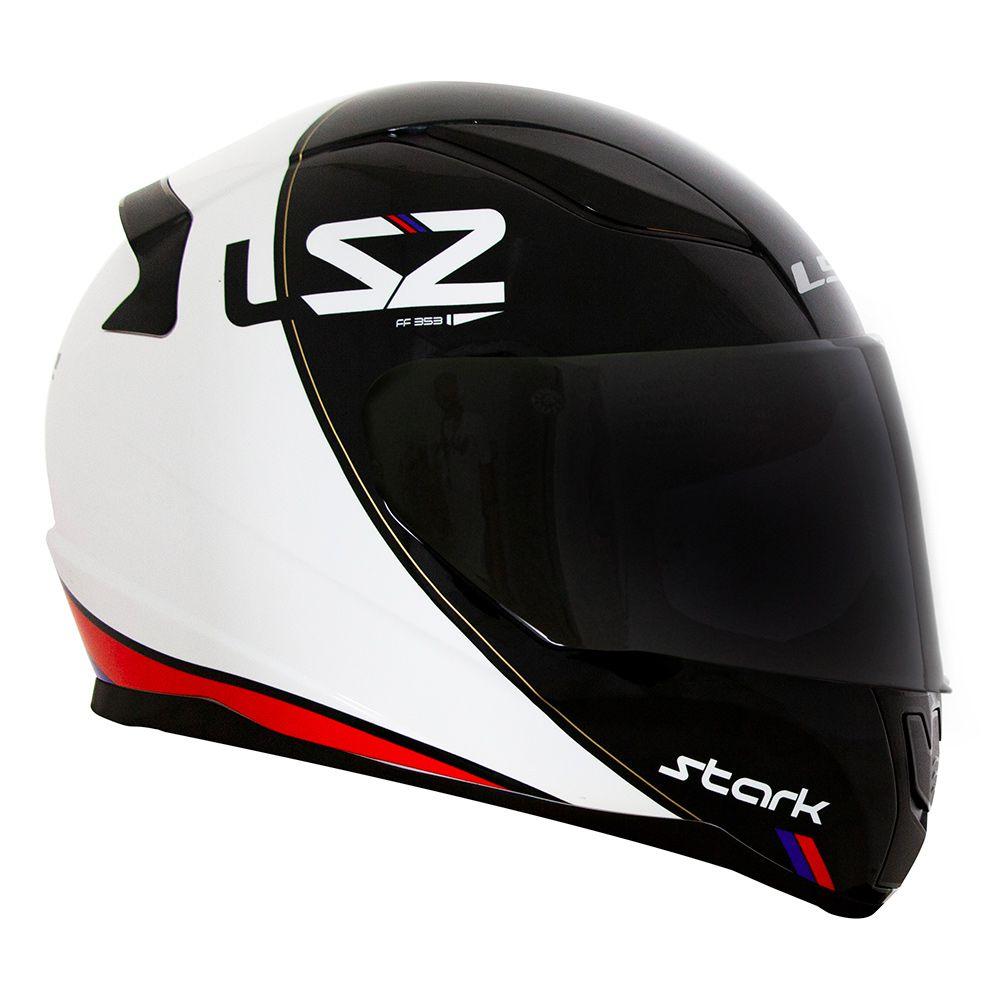 Capacete LS2 FF353 Stark - Branco/Vermelho/Azul  - Nova Centro Boutique Roupas para Motociclistas