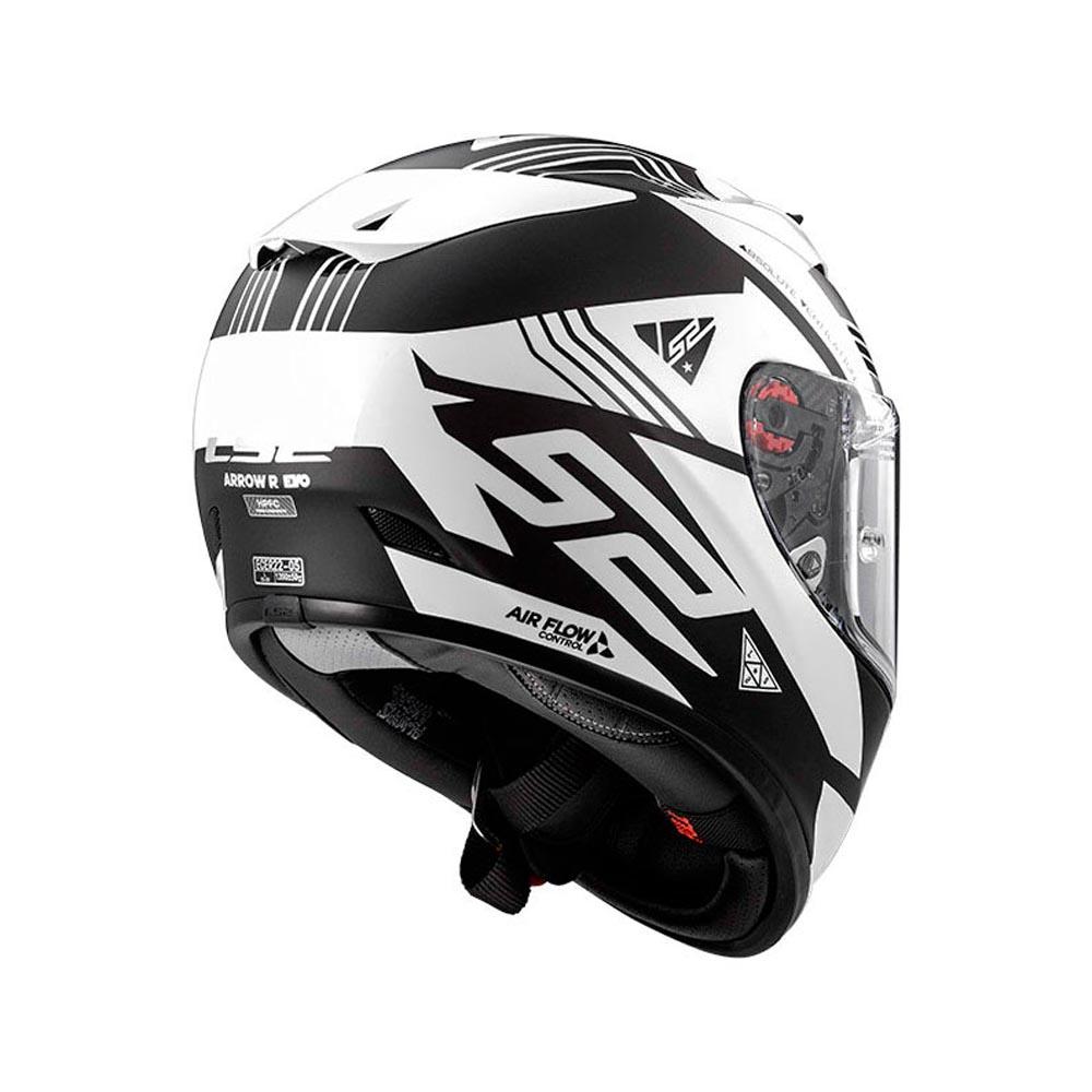 Capacete LS2 Arrow R (Branco/Preot  - Nova Centro Boutique Roupas para Motociclistas
