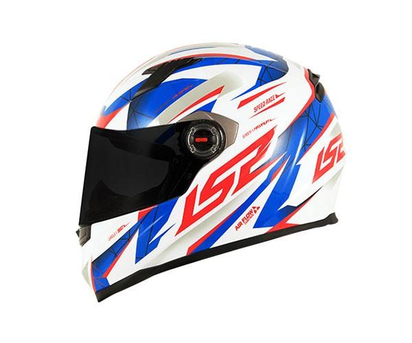 Capacete LS2 FF358 Draze Branco/Azul/Vermelho  - Nova Centro Boutique Roupas para Motociclistas