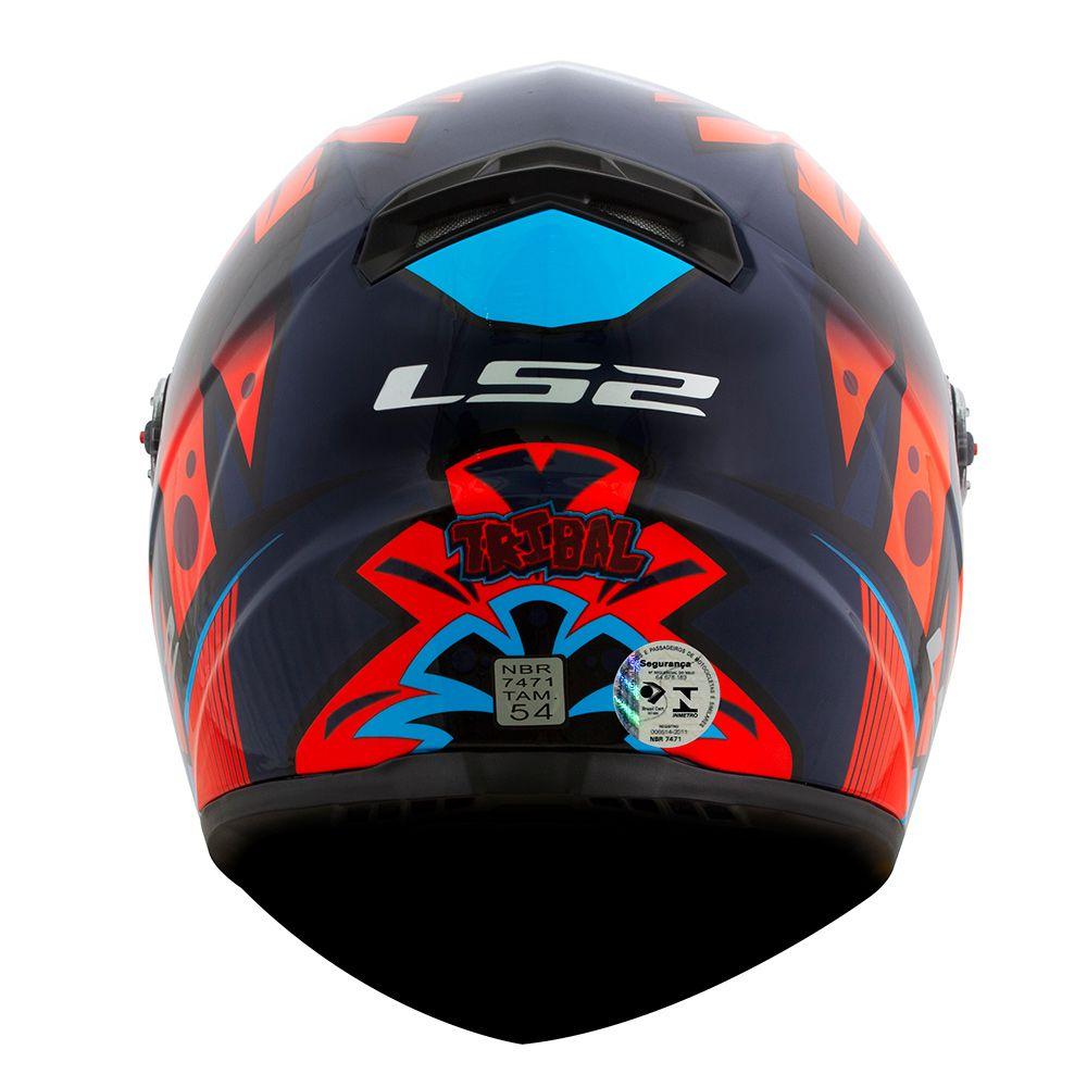 Capacete LS2 FF358 Tribal - Azul/Laranja ENTREGA PREVISTA PARA 29/04/2020  - Nova Centro Boutique Roupas para Motociclistas