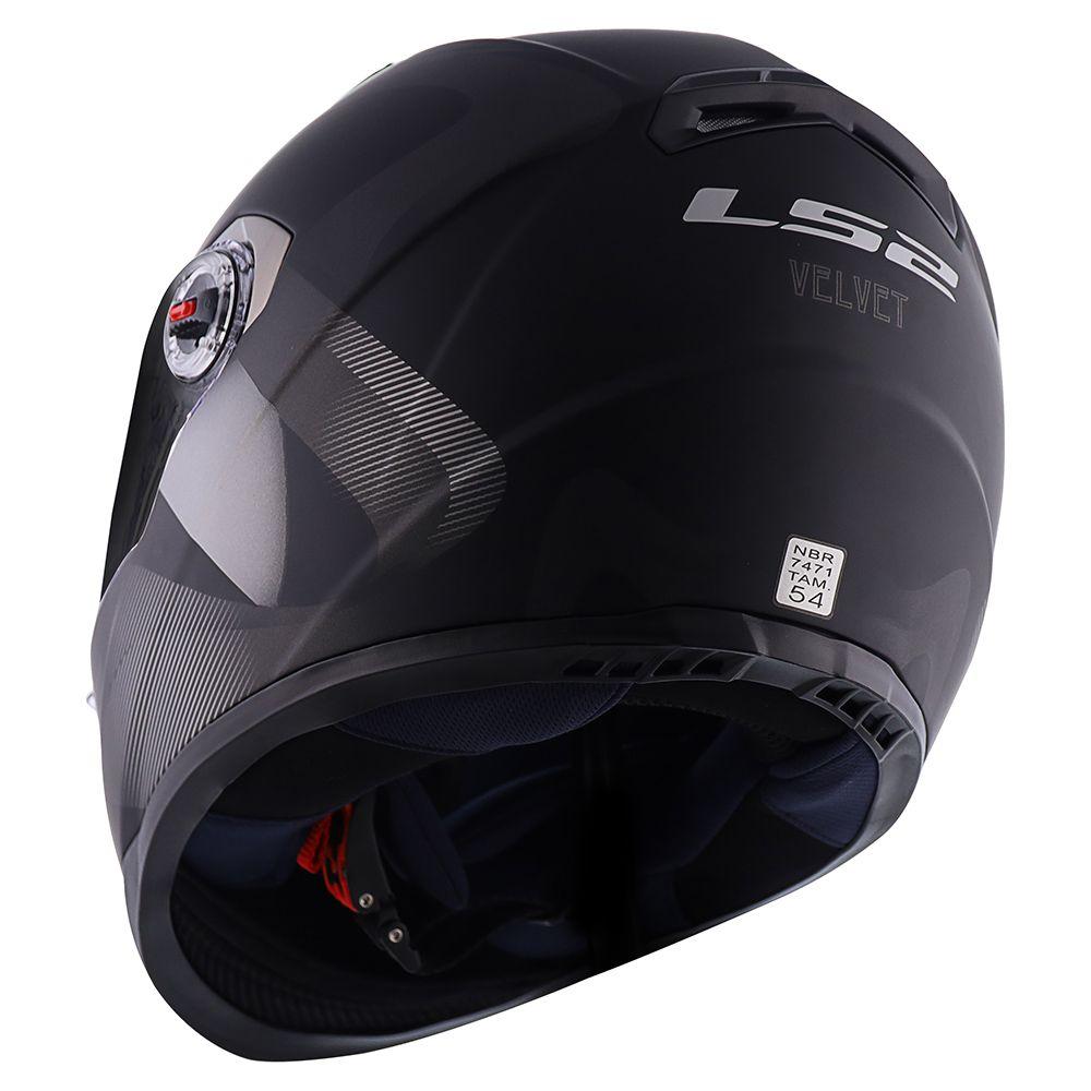 Capacete LS2 FF358 - Velvet - Preto Fosco/Cinza  - Nova Centro Boutique Roupas para Motociclistas