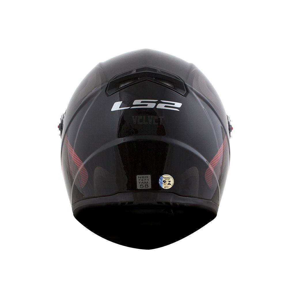 Capacete LS2 FF358 - Velvet - Preto/Vermelho  - Nova Centro Boutique Roupas para Motociclistas
