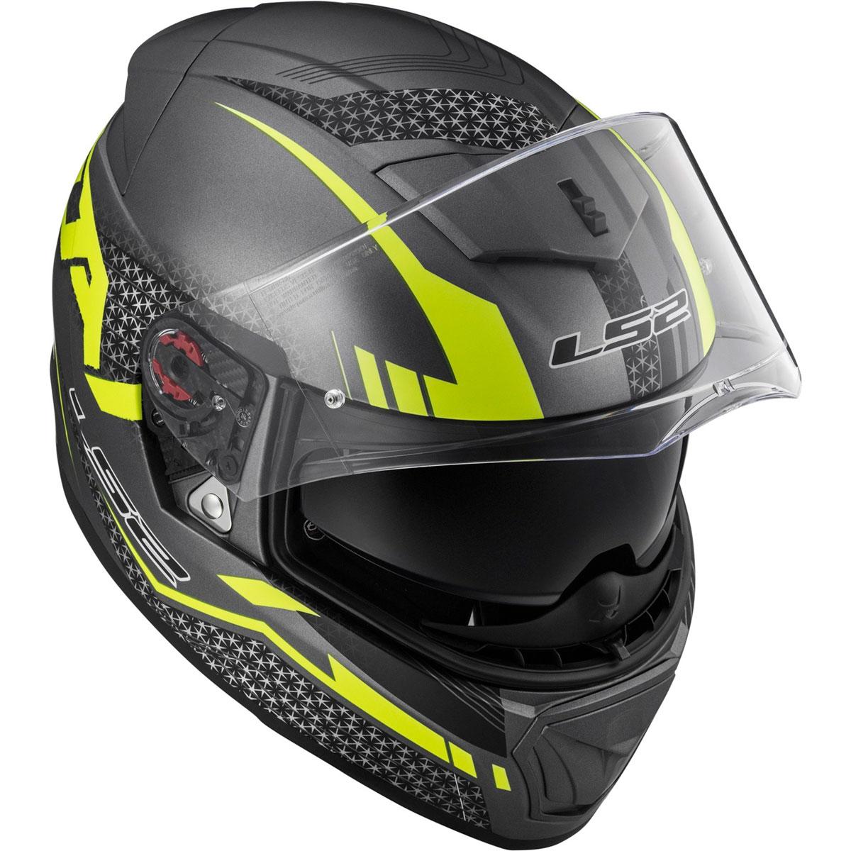 Capacete LS2 FF390 Breaker Spit Matt Titanium  HV Amarelo  - Nova Centro Boutique Roupas para Motociclistas