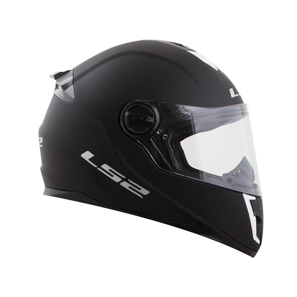Capacete LS2 FF392 Junior Mini Monocolor ( Infantil ) Preto  - Nova Centro Boutique Roupas para Motociclistas