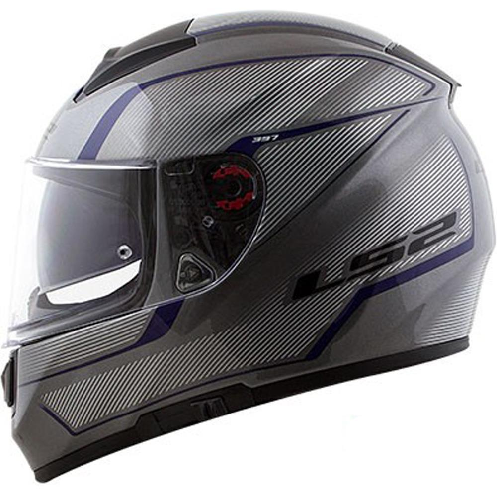 Capacete LS2 FF397 Vector Evo Aurora Branco/Azul  - Nova Centro Boutique Roupas para Motociclistas
