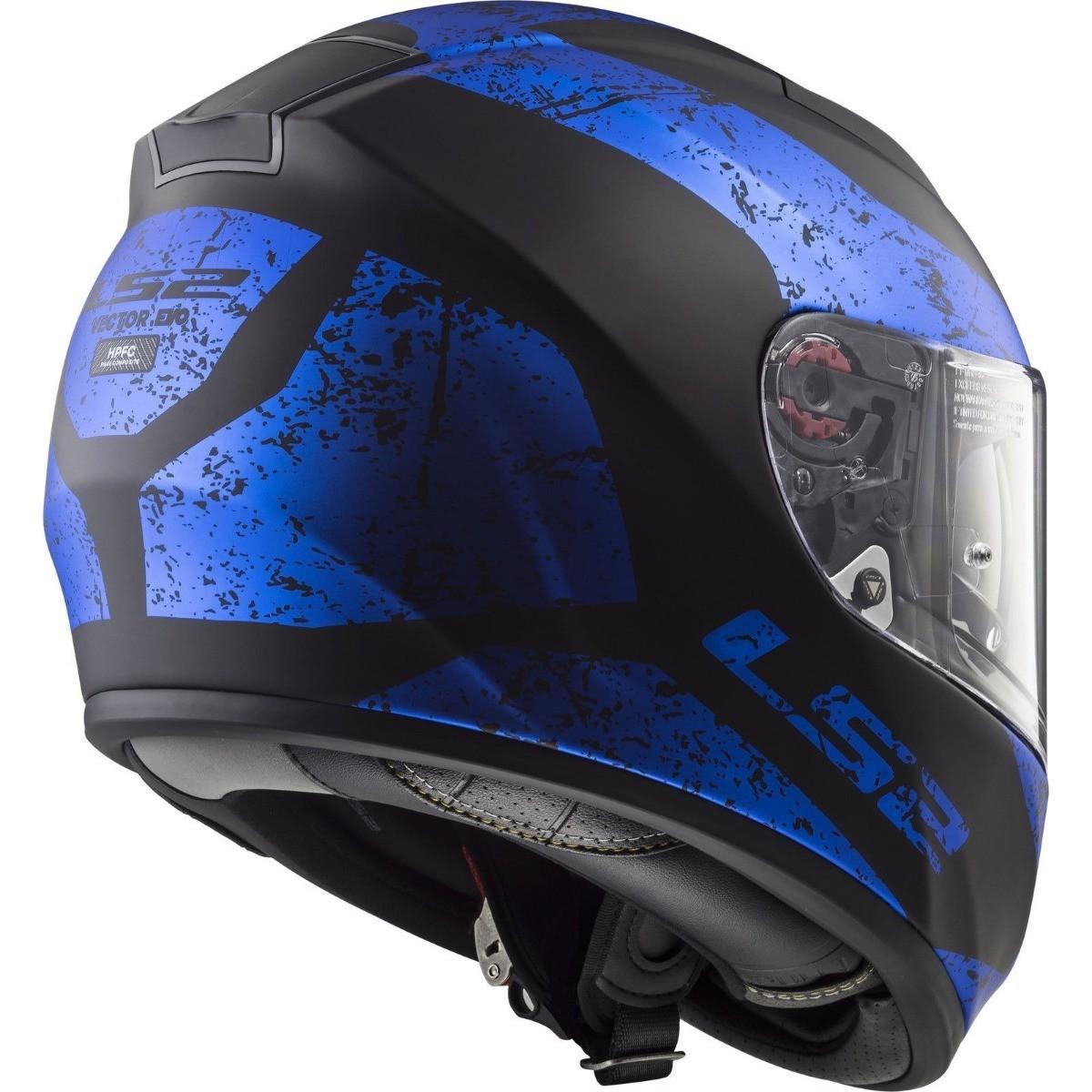 Capacete LS2 FF397 Vector Evo Sign Preto/Azul  - Nova Centro Boutique Roupas para Motociclistas
