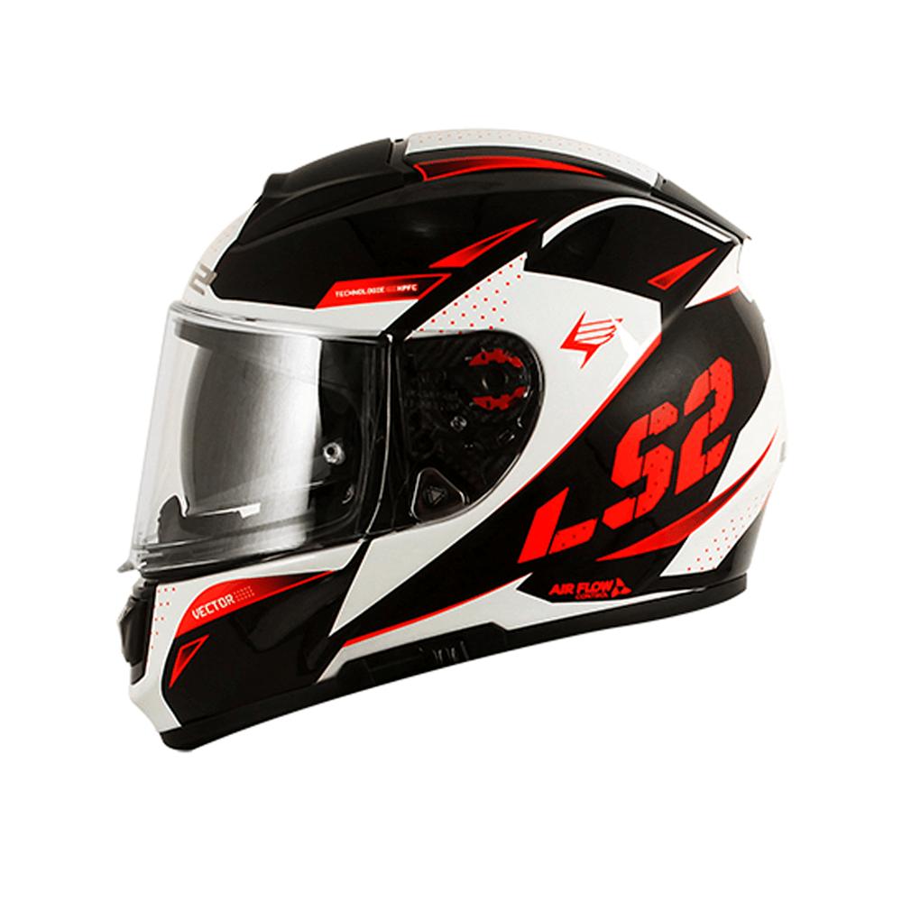 CAPACETE LS2 FF397 VECTOR FAVORER (C/ VISEIRA SOLAR) PRETO/BRANCO/VERMELHO  - Nova Centro Boutique Roupas para Motociclistas