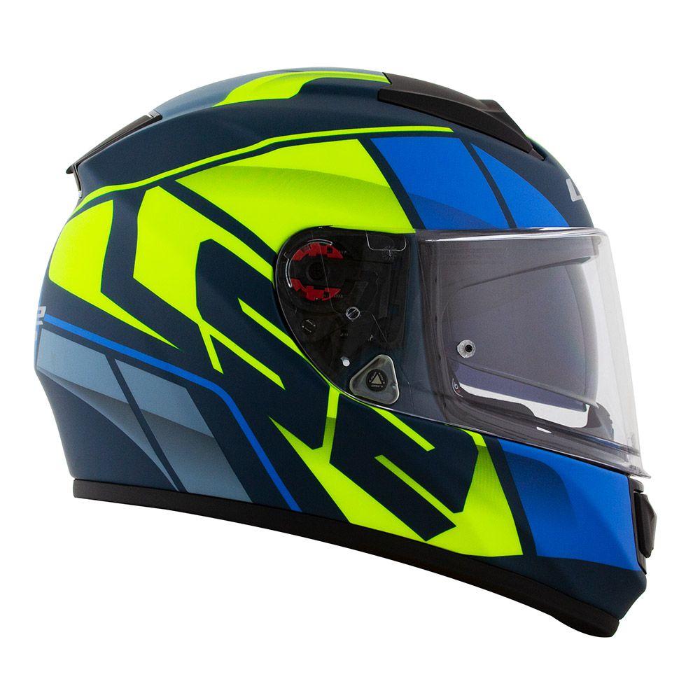 Capacete LS2 FF397 Vector KRIPTON Azul/Amarelo  - Nova Centro Boutique Roupas para Motociclistas