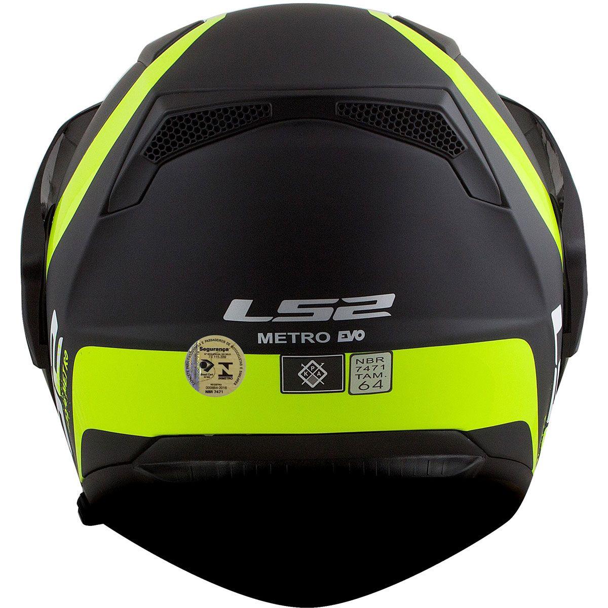 Capacete LS2 FF324 Metro Evo Rapid Black/ Yellow  - Nova Centro Boutique Roupas para Motociclistas