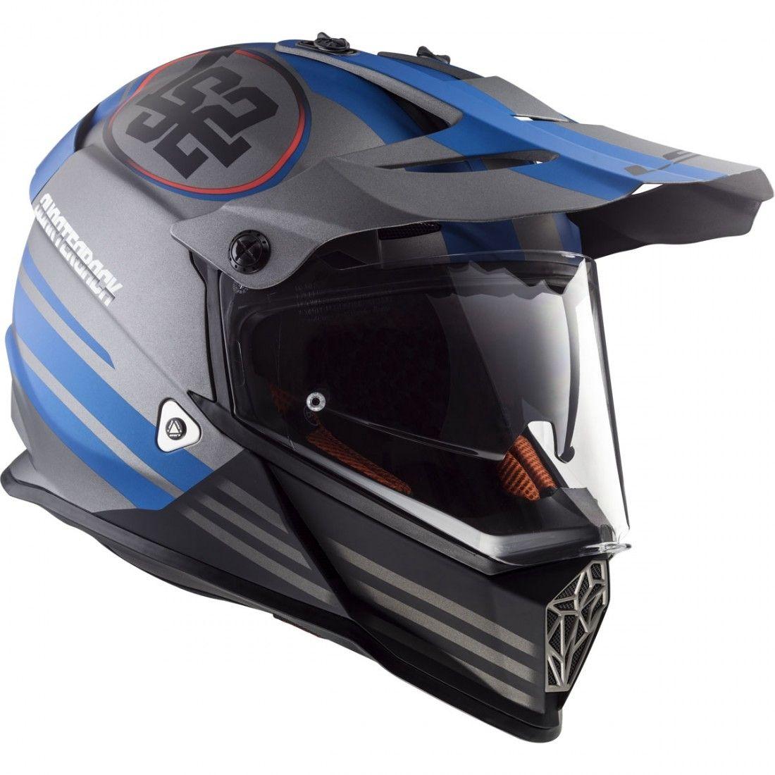 Capacete LS2 MX436 Pionner Quarterback - Cinza/Azul  - Nova Centro Boutique Roupas para Motociclistas