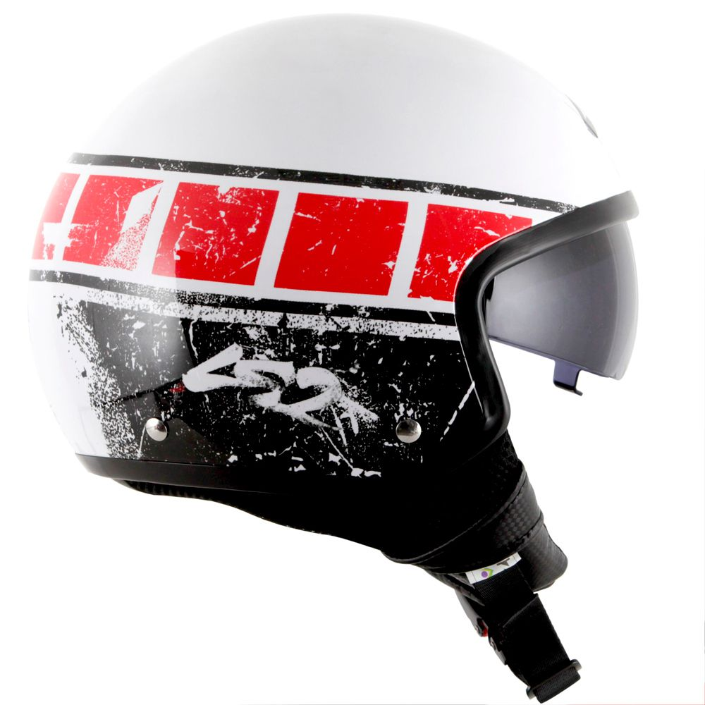 Capacete LS2 OF561 Wave Rook White/Red  - Nova Centro Boutique Roupas para Motociclistas