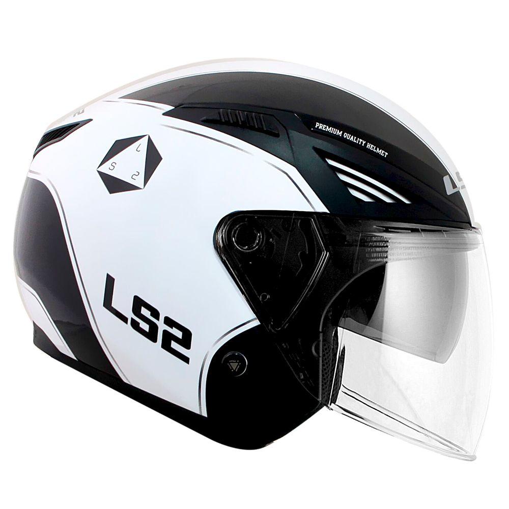 CAPACETE LS2 OF586 BISHOP RISING - BLACK/WHITE  - Nova Centro Boutique Roupas para Motociclistas