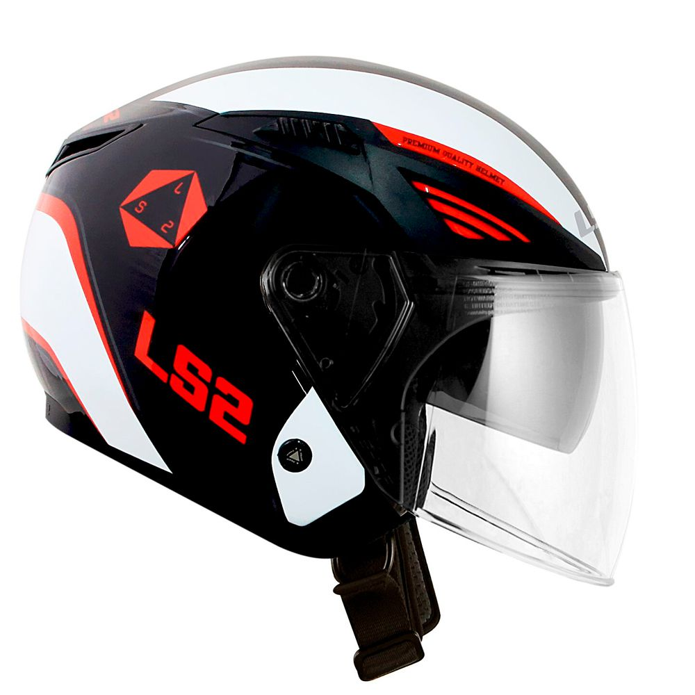 CAPACETE LS2 OF586 BISHOP RISING - BLACK/WHITE/RED