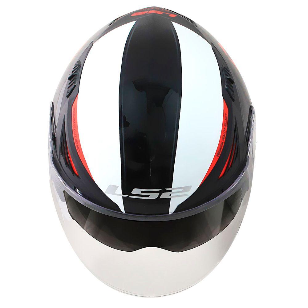 CAPACETE LS2 OF586 BISHOP RISING - BLACK/WHITE/RED  - Nova Centro Boutique Roupas para Motociclistas