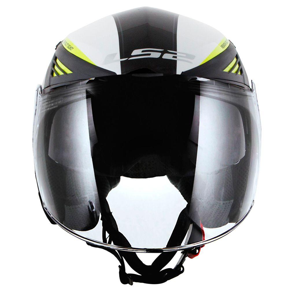 CAPACETE LS2 OF586 BISHOP RISING - FLUO BLACK/WHITE/YELLOW  - Nova Centro Boutique Roupas para Motociclistas