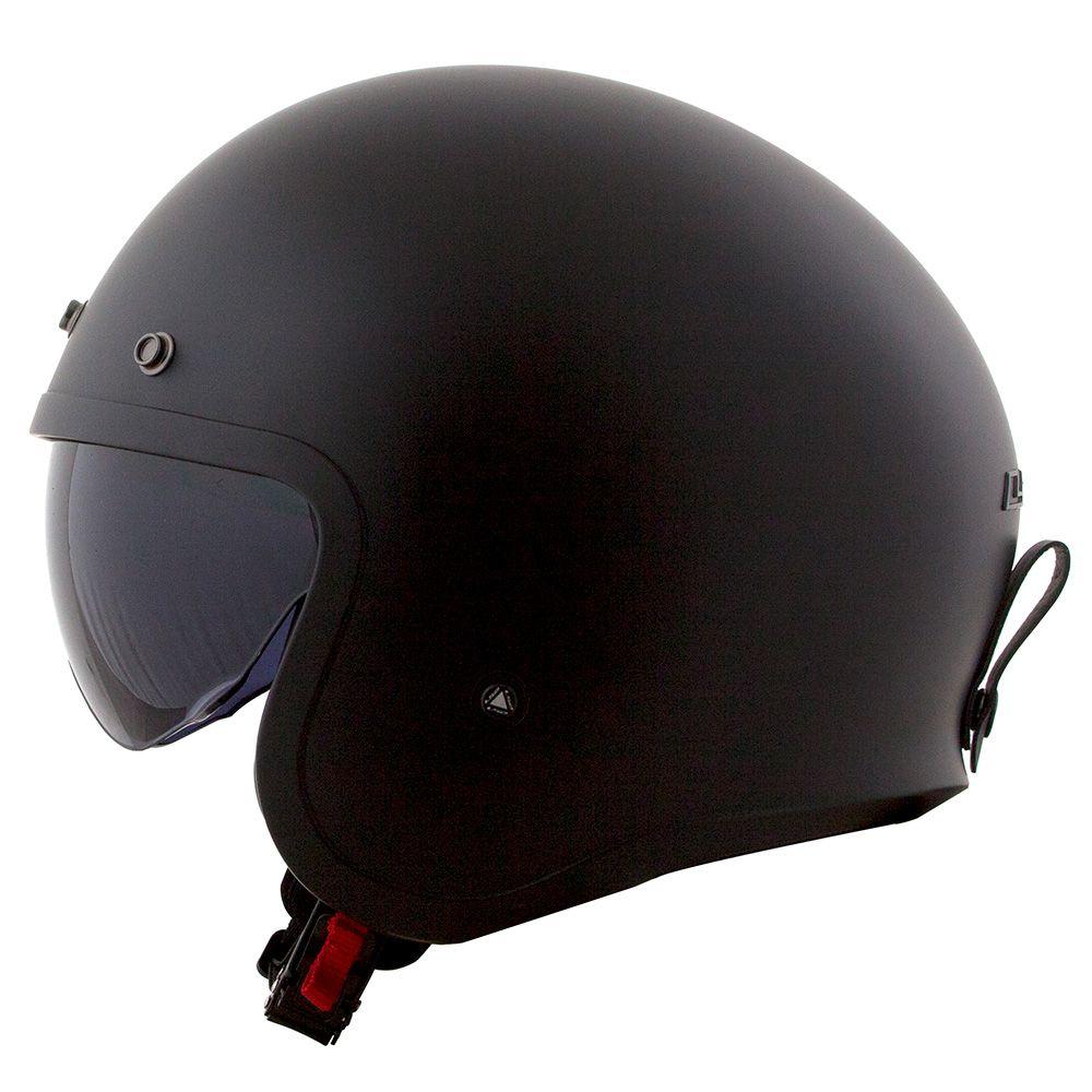 Capacete LS2 OF599 Spitfire Monocolor Matte Black (C/ VISEIRA SOLAR)  - Nova Centro Boutique Roupas para Motociclistas