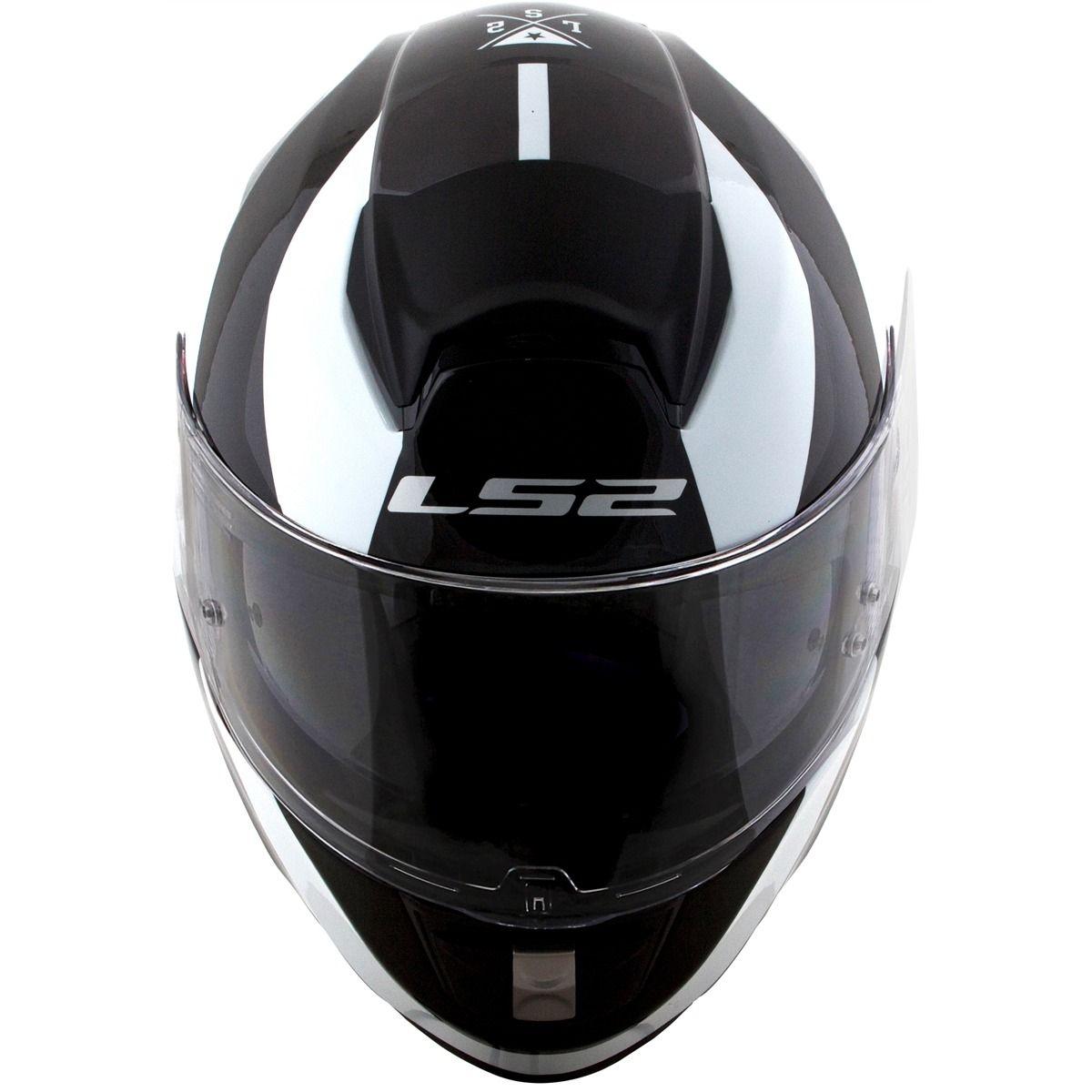 Capacete LS2 Vector FF397 Wavy (Branco/Preto)  - Nova Centro Boutique Roupas para Motociclistas