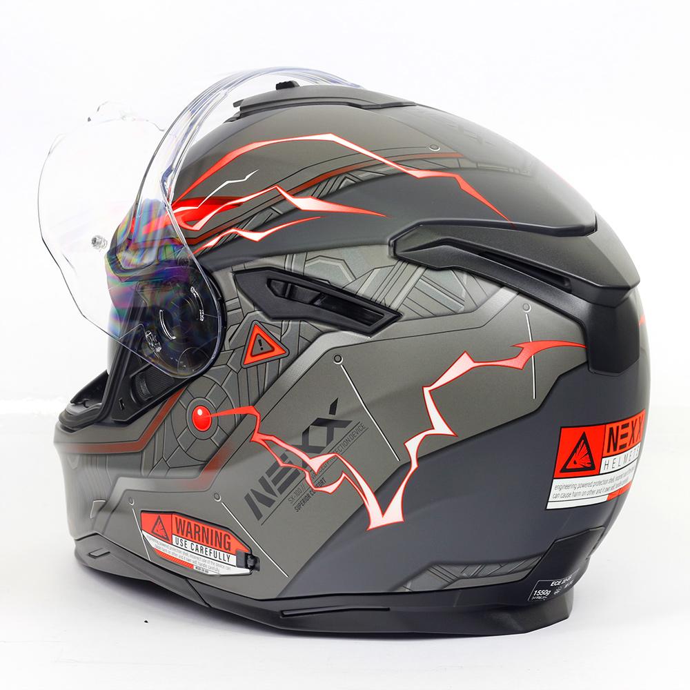 Capacete Nexx SX100 Gigabot Cinza c/ Vermelho Fosco + Pinlock - LANÇAMENTO 2020  - Nova Centro Boutique Roupas para Motociclistas