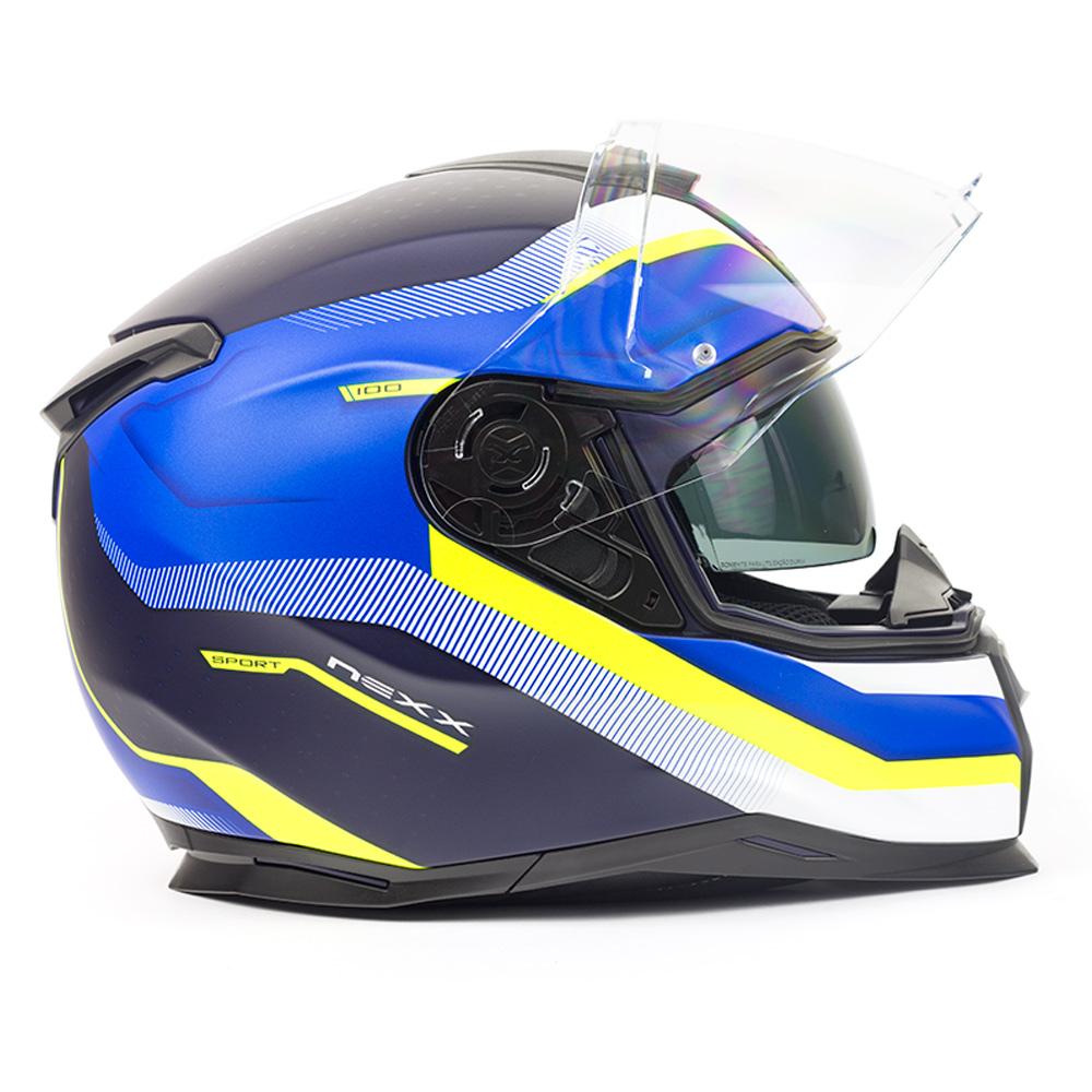 Capacete Nexx SX100 Mantik Azul/Amarelo Fosco + Pinlock - LANÇAMENTO 2019 - Black Friday  - Nova Centro Boutique Roupas para Motociclistas