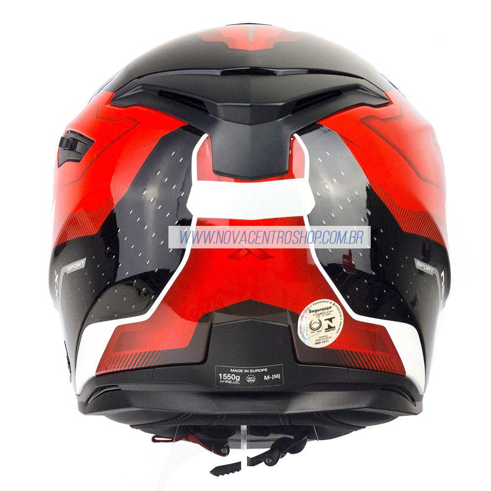 Capacete Nexx SX100 Mantik Preto/Vermelho + Pinlock  - Nova Centro Boutique Roupas para Motociclistas